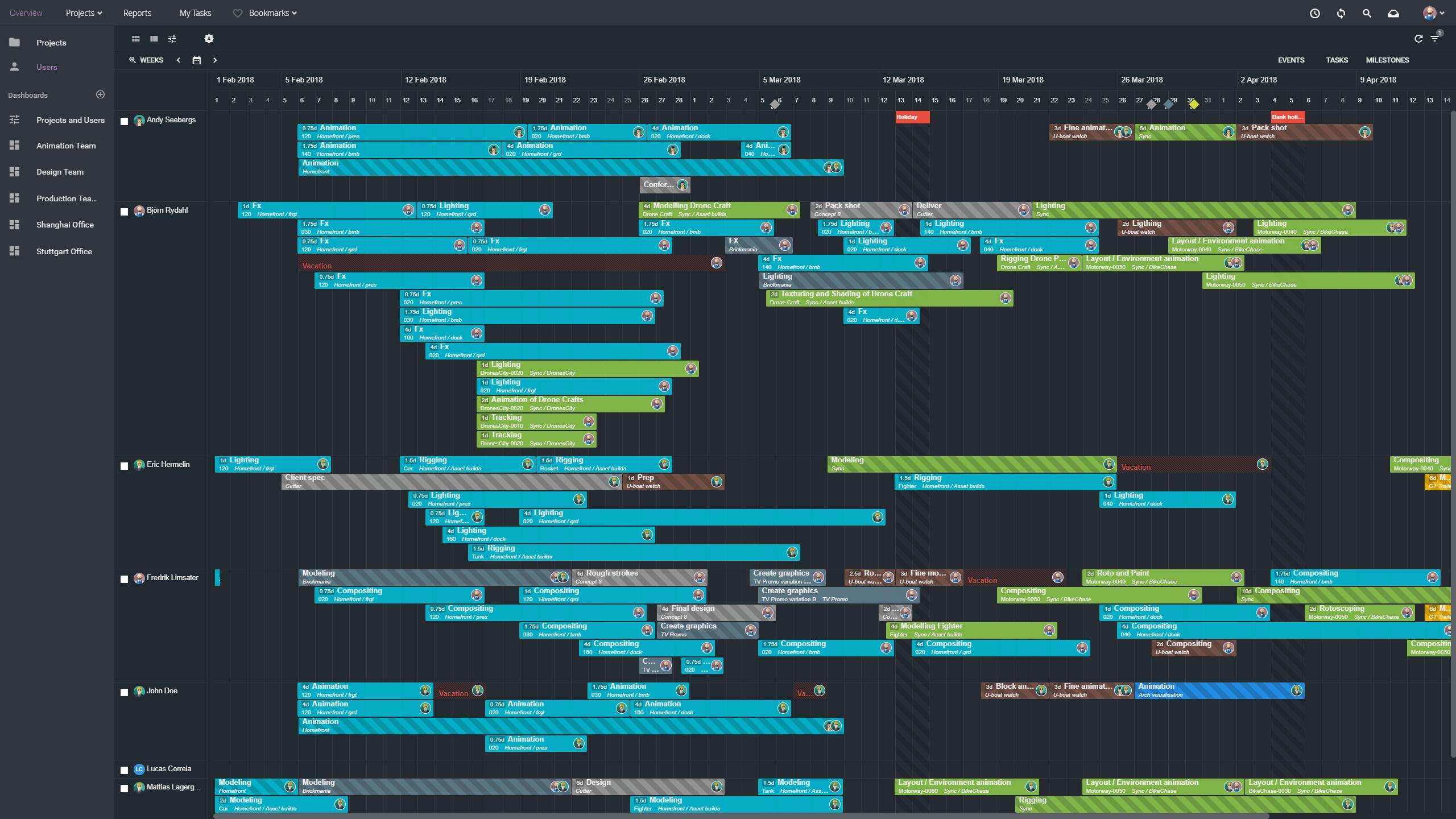 Creative project planning in ftrack Studio