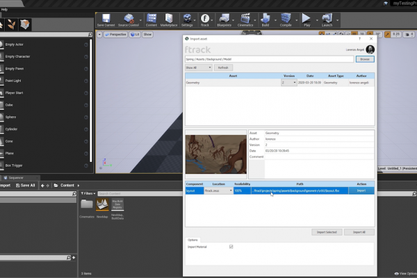 Unreal Engine ftrack Studio 2